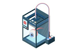 Creating artificial eye on three dimensional printer vector illustration