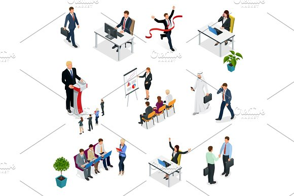 Isometric Business Negotiations Trendy Isometric Young Creative People Recruitment Process To Set Isometric Business Employees On A White Background Vector Illustration