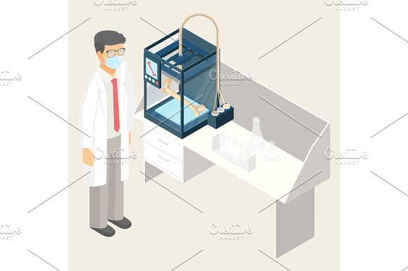 Doctor Creating Artificial Human Bone On 3D Printer In Laboratory