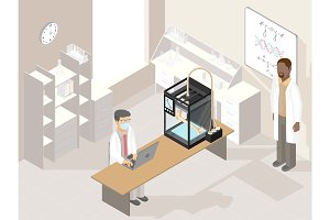 Clinic laboratory with medical 3D printer and professional doctors