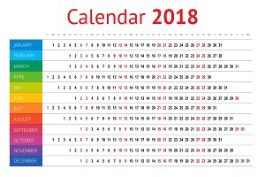 2018 calendar. Print Template. Week Starts Sunday. Portrait Orientation. Set of 12 Months. Vector Planner for 2018 Year.