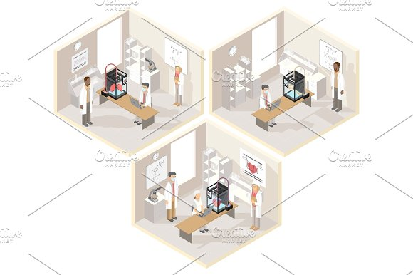 Clinical Laboratories Set Of Isometric Illustrations With Medical 3D Printer