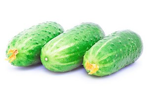 Three cucumbers isolated on the white background