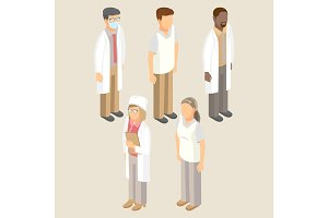 Medical workers set of men and women vector illustration