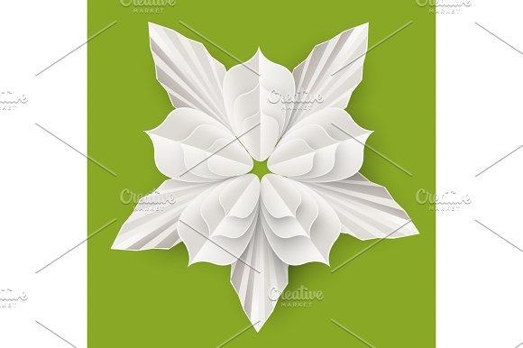 Flower With Leaves Made Of Paper Sheet Isolated Illustration