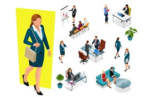 Isometric elegant business women in formal clothes. Base wardrobe, feminine corporate dress code. Business negotiations concept. Set for creating an office worker character.