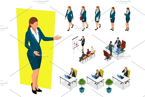 Isometric Elegant Business Women In Formal Clothes Base Wardrobe Feminine Corporate Dress Code Business Negotiations Concept Set For Creating An Office Worker Character
