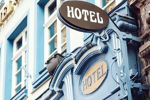Classical style hotel outdoor sign