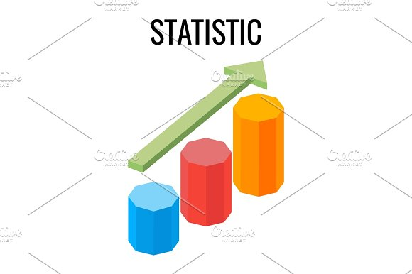 Statistic Growing Chart With Arrow Going Up Three Dimensional Vector