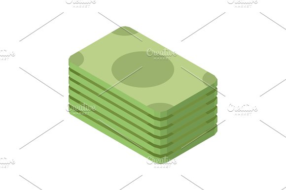 Pile Of Green Dollar Banknotes Isolated On White 3D Illustration