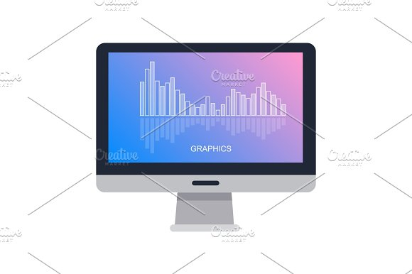 Computer Screen Isolated With Graphics On White