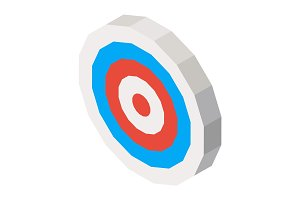 Empty dartboard with blue and red lines. Vector 3D illustration