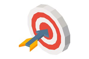 Missile in dartboard three dimensional vector illustration on white