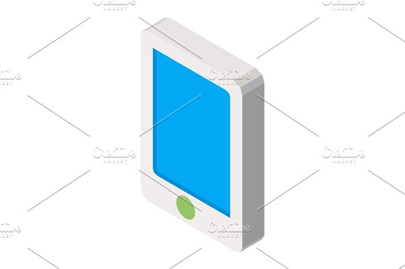 Mobile Phone Three Dimensional Business Icon Vector Illustration Isolated