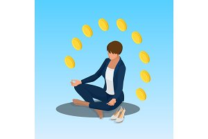 Young yoga position business woman relaxing. Business woman sitting in padmasana lotus pose. Isometric vector illustration