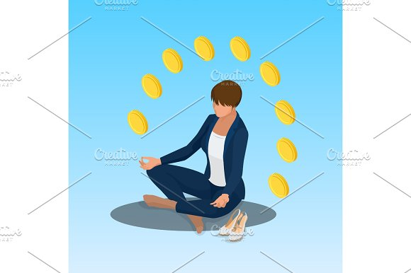 Young Yoga Position Business Woman Relaxing Business Woman Sitting In Padmasana Lotus Pose Isometric Vector Illustration