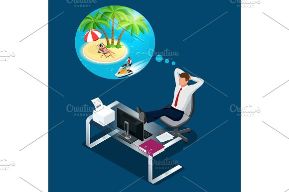 Isometric Office Worker Or Businessman In The Workplace Dreams Of Rest Vacation And Travel A Break In The Time Of Work Flat Illustration Of Man Dreaming About Summer Vacation On The Beach