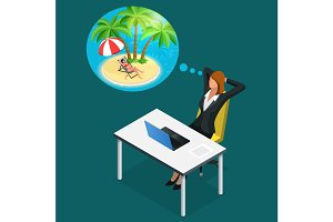 Isometric office worker or business woman in the workplace dreams of rest, vacation and travel. A break in the time of work. Illustration of business woman dreaming about summer vacation on the beach
