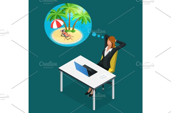Isometric Office Worker Or Business Woman In The Workplace Dreams Of Rest Vacation And Travel A Break In The Time Of Work Illustration Of Business Woman Dreaming About Summer Vacation On The Beach