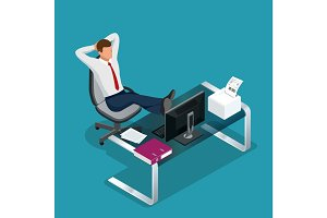 Office employee is resting flat 3d vector isometric illustration