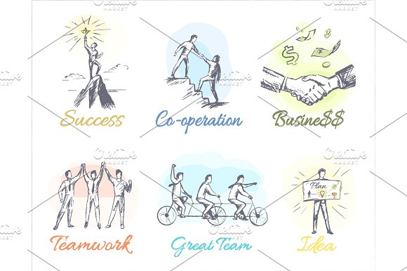 Business-Themed Sketches Of Profitable Cooperation