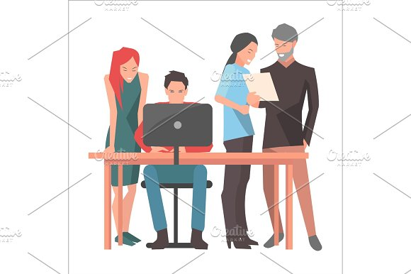 Teamwork And Startup Discussions Illustration