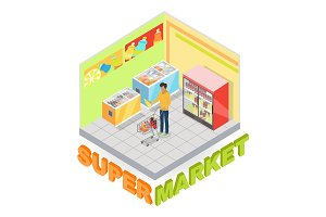 Supermarket Department Interior Isometric Vector