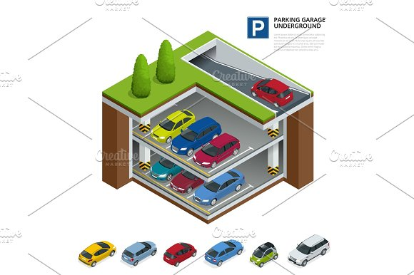 Parking Garage Underground Indoor Car Park Urban Car Parking Service Flat 3D Isometric Vector Illustration For Infographic