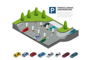 Parking garage underground. Indoor car park. Urban car parking service. Flat 3d isometric vector illustration for infographic.