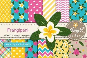 Frangipani Digital Paper & Clipart