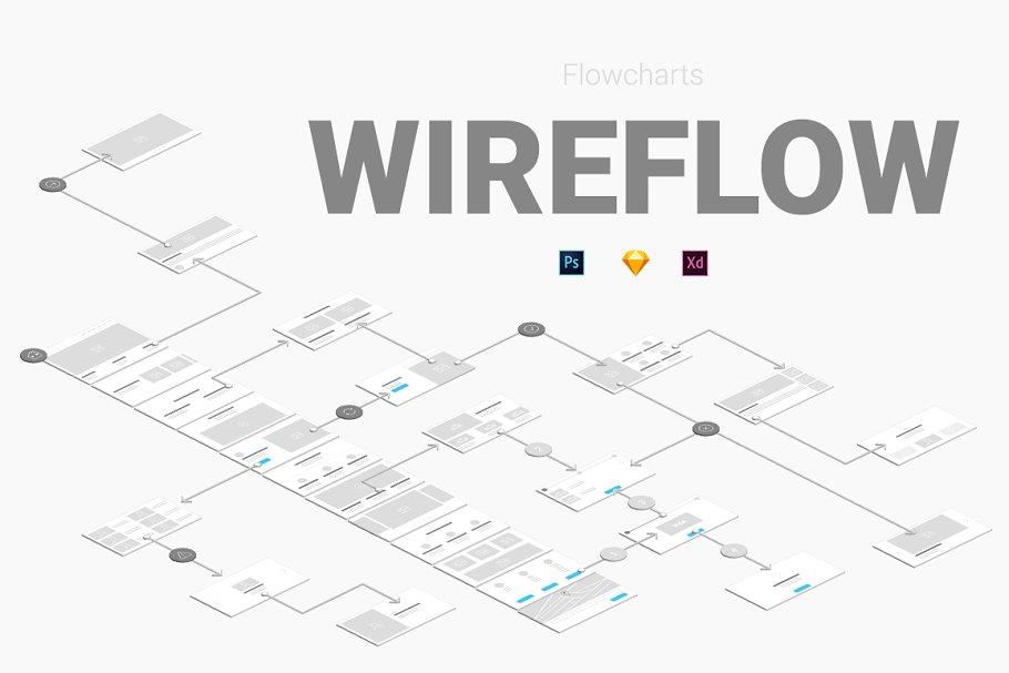 Wireflow Flowcharts ~ Wireframe Kits ~ Creative Market