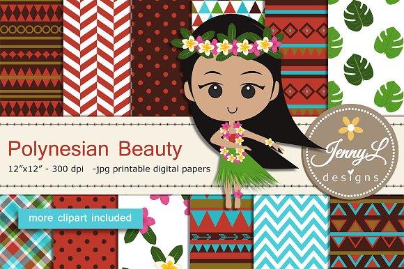 Polynesian Digital Paper Clipart