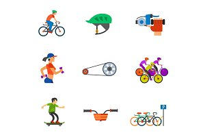 Cycling icon set