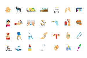 Medicine and Disability icon set