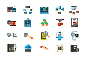 Modern technology icon set