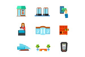 Shopping mall icon set