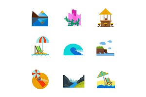 Vacation and Sea icon set