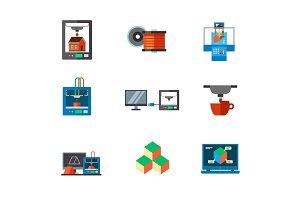3d-printing icon set