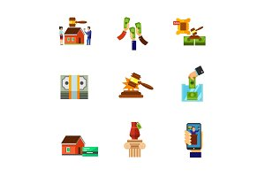 Auction market icon set