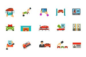 Auto business icon set