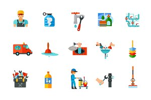 Plumbery and Cleaning icon set