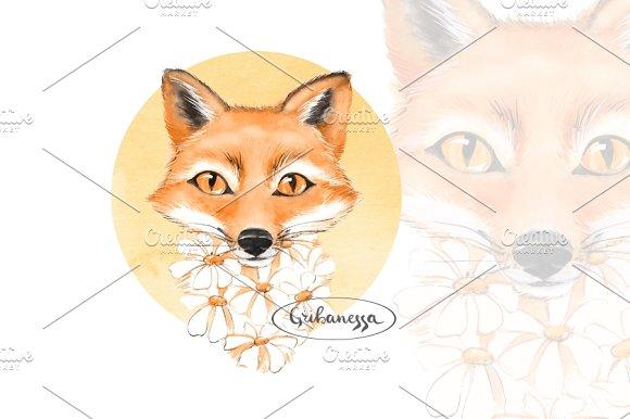 Fox Watercolor Illustration
