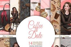 Coffee Date Digital Paper