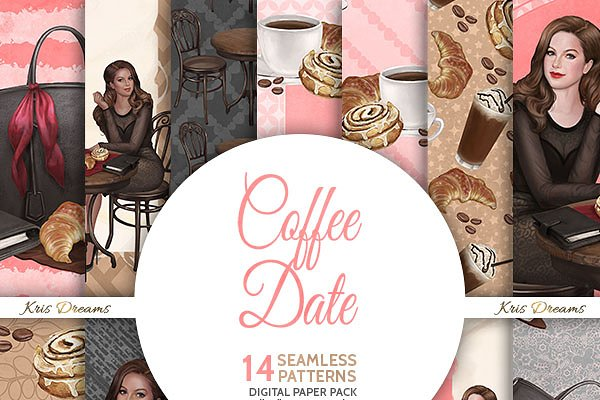 Coffee Date Digital Paper