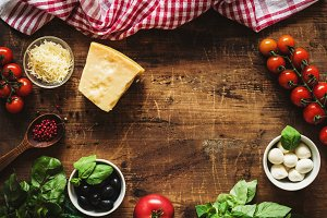 Italian food ingredients on table