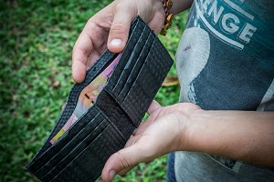Snakeskin python leather wallet with money in male hands on green background. Tropical Bali island.