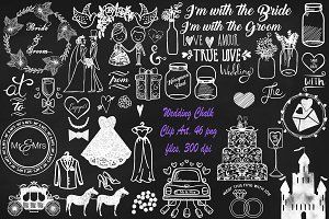 Wedding Chalk Clip Art Mega Pack