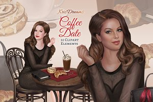 Coffee Date Clipart Set