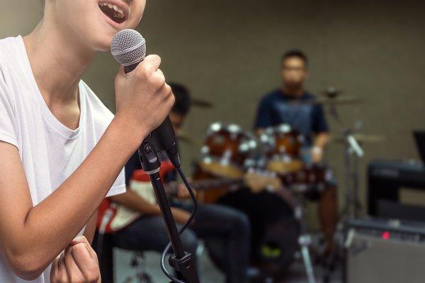 Closeup young Singer