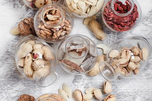 Different nuts in jars